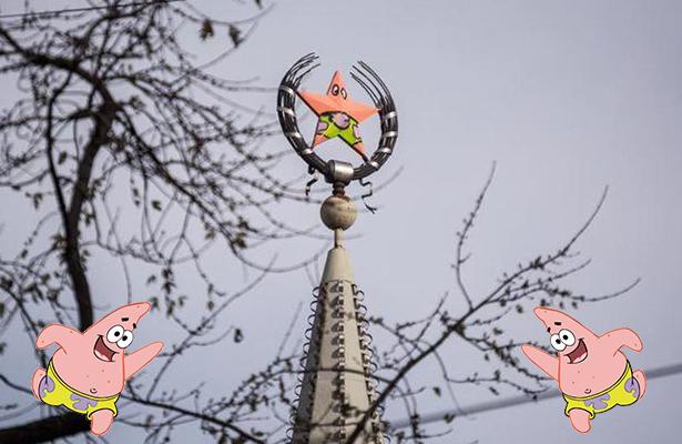 Símbolo comunista de Rusia es pintado para parecerse a Patricio Estrella