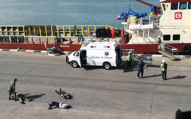 Realizan megasimulacro de ataque bioterrorista en el puerto de Tampico
