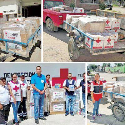 Entrega Cruz Roja deNuevo Ideal apoyos
