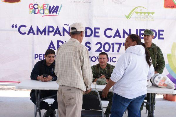 Instalan módulo de canje de armas en ejido de Gómez Palacio