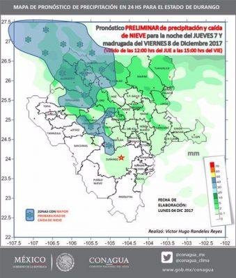 Se prevé caída de nieve en 8 municipios de Durango