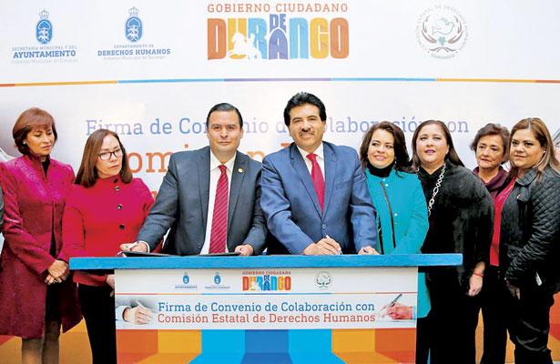 Firma Municipio convenio con la Comisión Estatal de Derechos Humanos