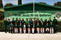 CANATLÁN, Dgo. (OEM).- Alumnos de alto aprovechamiento académico y personal fundador, celebrando el 25 aniversario de la Escuela Secundaria Jesús Rivas Quiñones. Con ellos, la directora Leticia Méndez Vega.