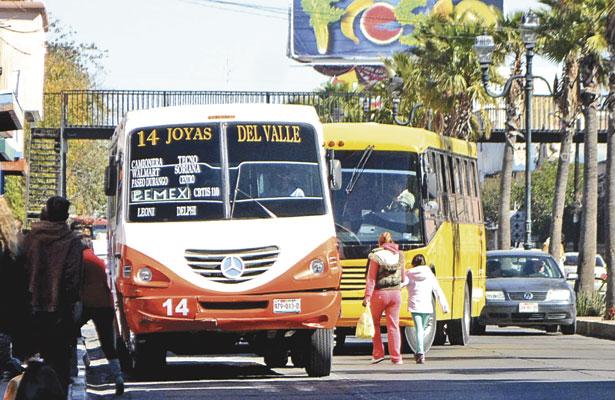 Aumentarán tarifas del transporte urbano