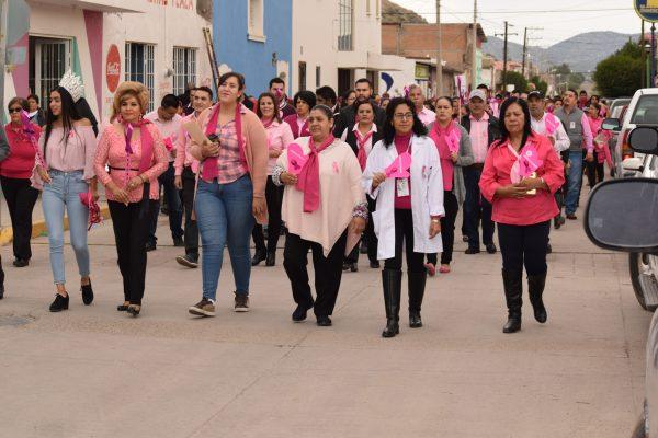 Cientos de personas realizaron la marcha rosa en Canatlán.