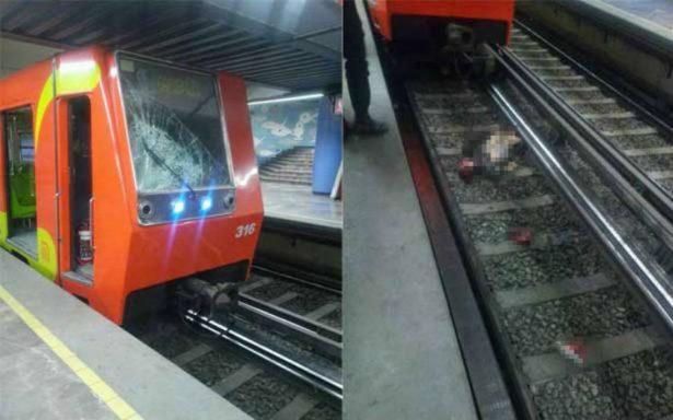 Muere hombre al ser arrollado por convoy en las vías del metro