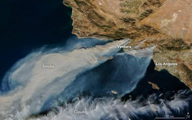 Así se ve desde el espacio el infierno del incendio en California