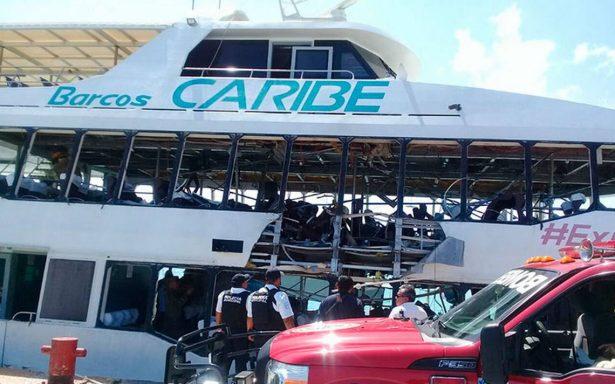 [Video] Explosión en ferry deja 18 heridos en Playa del Carmen