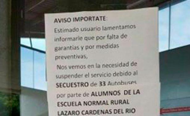 Suspende corridas Flecha Roja en Edomex por secuestros