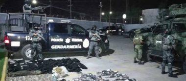 Policía Federal asegura 20 armas de fuego, equipo táctico y droga en Reynosa