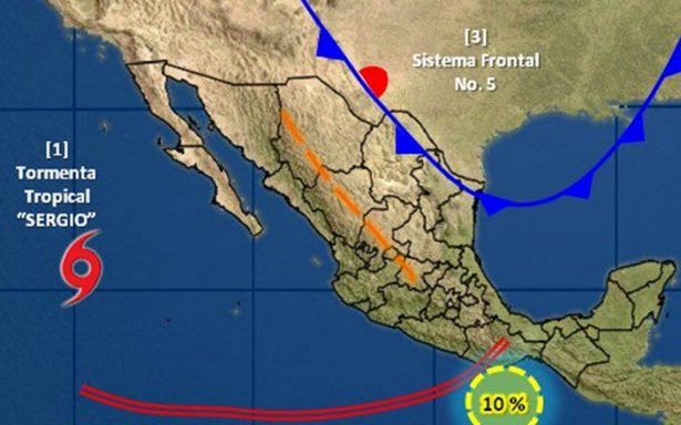 Emiten alerta azul y verde en Sonora por tormenta tropical Sergio