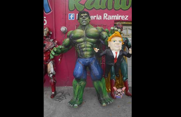 """""""Avengers"""" atacan a Trump, en piñata"""