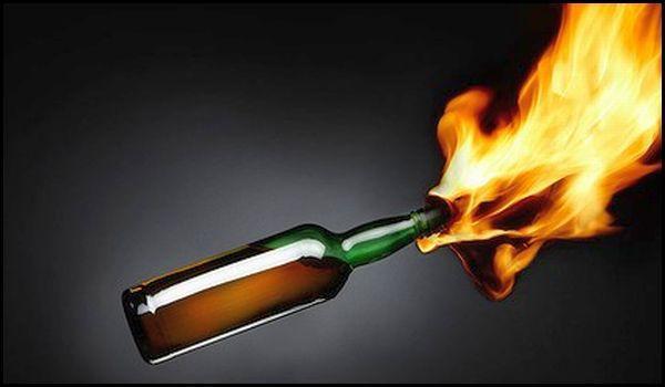 Resulta con quemaduras por bombas molotov en riña