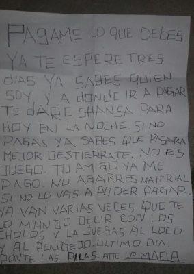 Ejecutan a joven en El Apache, previo a amenazas