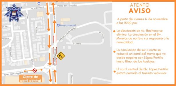 Dejarán abiertos dos carriles de circulación en el bulevar Morelos