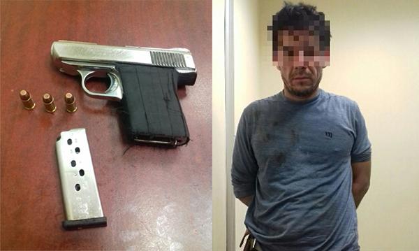 Capturan a un asaltante con pistola en Obregón