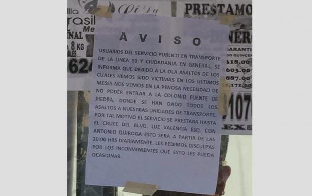 Camiones no entrarán a la colonia Fuente de Piedra por inseguridad