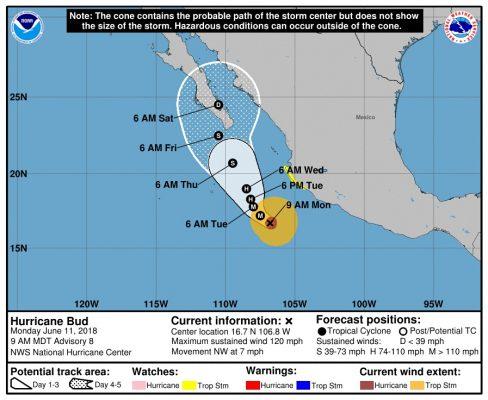 Huracán Bud traerá lluvias a Hermosillo