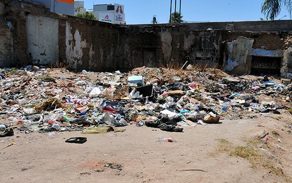 Reportan baldío sucio en colonia Centro