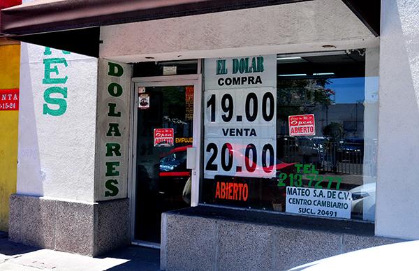 Dólar sube a 20 pesos en las casas de cambio