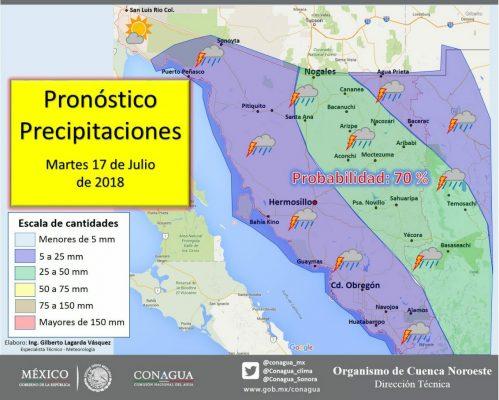Se mantienen las probabilidades de lluvia para Hermosillo