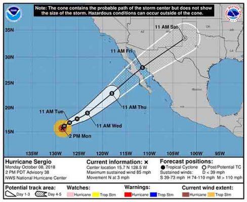 "Emiten Alerta Azul en Sonora por huracán ""Sergio"""