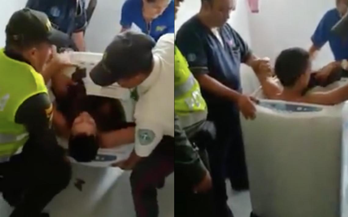 [Video] Niño se atora en una lavadora porque quería cumplir un reto viral