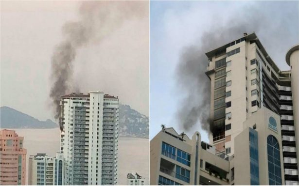 Fuerte incendio en condominios de Acapulco; hombre muere al lanzarse del piso 21