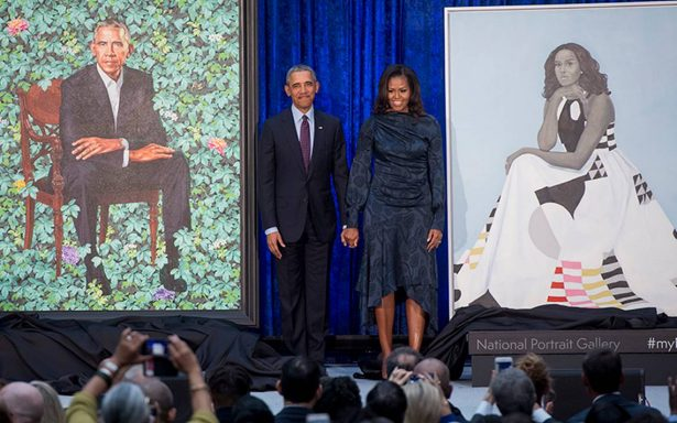Así lucen los retratos de Barack y Michelle Obama en el National Portrait Gallery