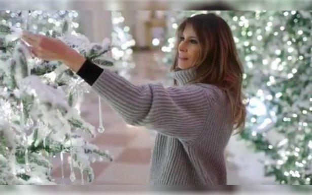 Una Melania Trump tradicional: presenta su primera decoración navideña de la Casa Blanca