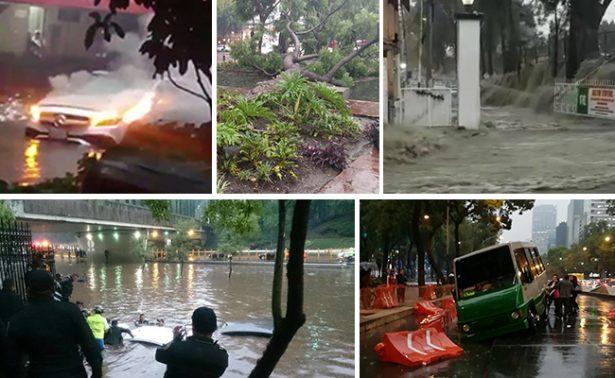 Inundaciones, autos varados, caos vial… así transcurrió la tormenta en CDMX