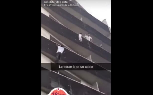 [VIDEO] Joven trepa cuatro pisos por balcones en París para rescatar a un niño