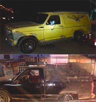 Aseguraron camionetas policías municipales de Tezontepec