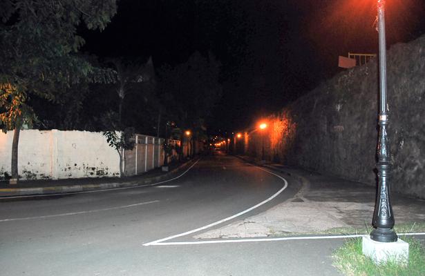 Calles de Pachuca  en la oscuridad