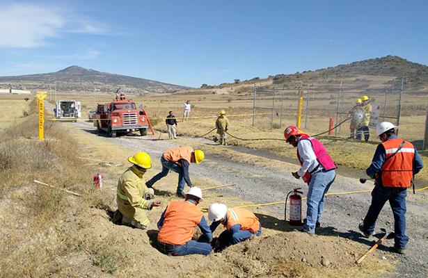 Simulacro de fisura en tubos de gas natural