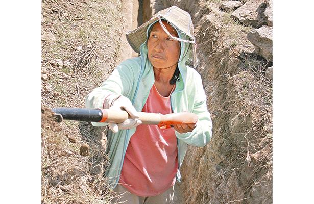 Las mujeres no quedan fuera del trabajo que, inclusive, es considerado pesado: excavaron a mano limpia para no estropear la estructura del acueducto. Foto: El Sol de Hidalgo.