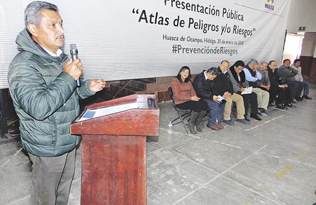 Urge que todos los municipios de Hidalgo, cuenten con su Atlas de Riesgo