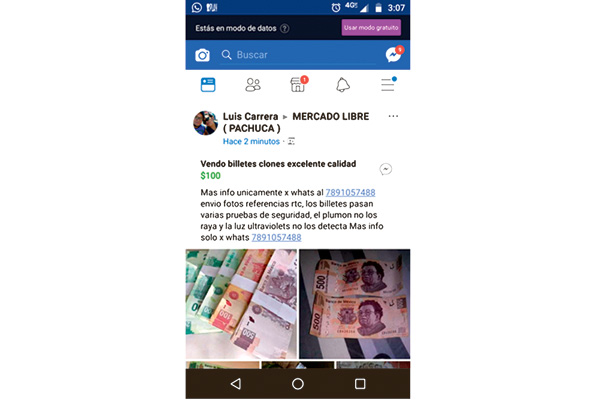Alertan en redes sociales por venta de billetes falsos