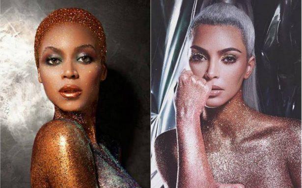 Kim Kardashian aparece desnuda en adiamantado look como Beyoncé