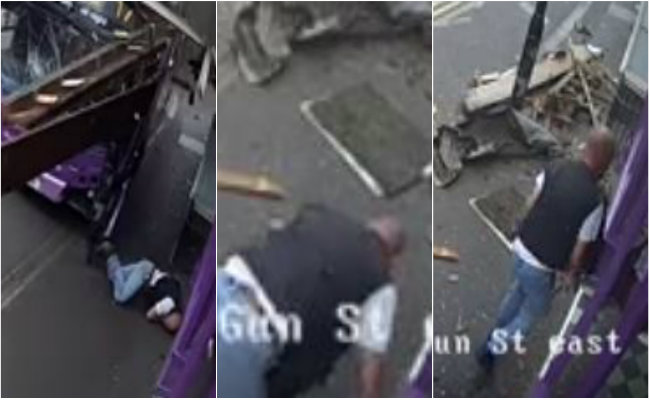 [Video] Lo atropella un autobús, se levanta ileso y entra a un bar