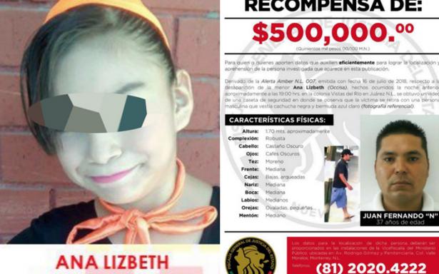 Ofrecen medio millón de pesos por paradero del asesino de Ana Lizbeth