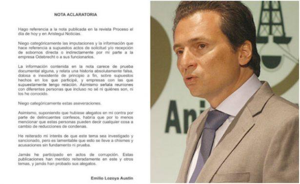 Emilio Lozoya niega categóricamente corrupción en caso Odebrecht