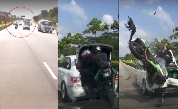 [Video] Moto rebasa por la derecha y sufre impactante choque