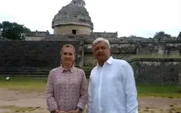 AMLO arranca el 2018 desde Chichén Itzá; promete no traicionar la confianza del pueblo