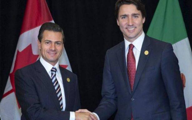 """""""Mantengamos fuerte nuestra relación México-Canadá"""", señala Peña Nieto a Trudeau"""
