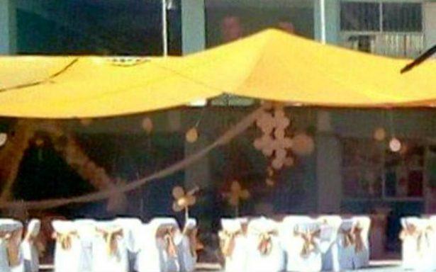 Escuela afectada por sismo es utilizada como salón de fiestas, denuncian