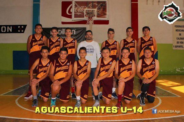 Compite Selección de Aguascalientes en Nacional de baloncesto U14, en Chiapas