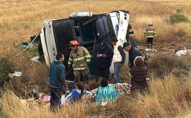 Volcadura en Zacatecas deja seis muertos; se dirigían a la CDMX