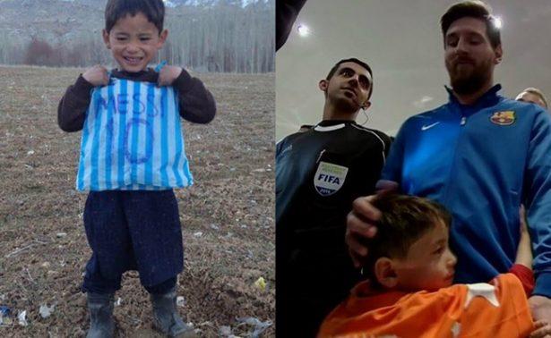 Niño afgano cumple su sueño de conocer a su ídolo Lionel Messi