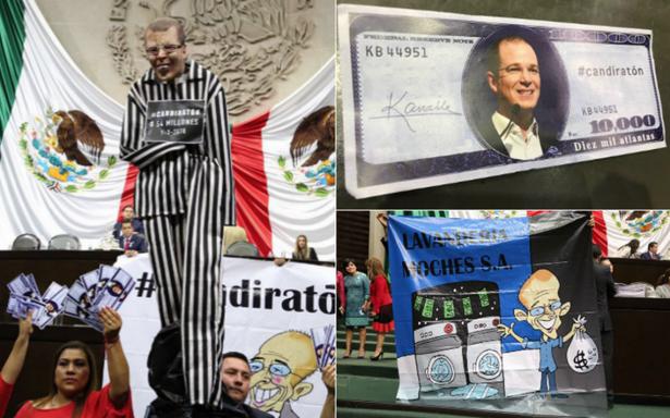 Con mantas y una marioneta, diputados del PRI protestan en el pleno contra Anaya